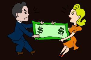 גרושים מתווכחים על כסף